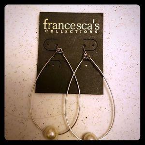 NWT Francesca Silver and Pearl Loop Earrings